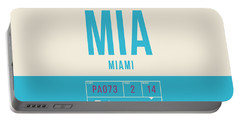 Retro Airline Luggage Tag 2.0 - Mia Miami International Airport United States Portable Battery Charger