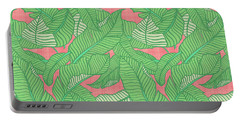 Banana Leaf Pattern Pink Portable Battery Charger