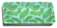 Banana Leaf Pattern Blue Portable Battery Charger