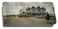 Portable Battery Charger featuring the photograph Asbury Park Boardwalk Looking South by Steve Stanger