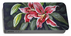 Asian Lily Sketch Portable Battery Charger