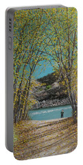 Aspen Trees And Fisherman Portable Battery Charger