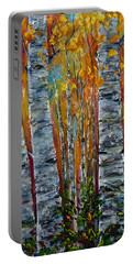 Portable Battery Charger featuring the photograph Aspen Trees By Olena Art by OLena Art