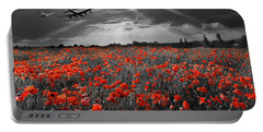 Portable Battery Charger featuring the photograph At The Going Down Of The Sun Selective Red Version by Gary Eason