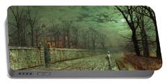Atkinson Grimshaw -leeds, 1836 -1893-. A Moonlit Evening -1880-. Oil On Cardboard. 25.5 X 46 Cm. Portable Battery Charger