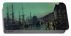 Atkinson Grimshaw -leeds, 1836 -1893-. Shipping On The Clyde -1881-. Oil On Cardboard. 30.5 X 51 Cm. Portable Battery Charger
