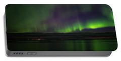 Aurora Borealis Reflecting At The Sea Surface Portable Battery Charger