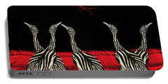 Zebra Australian Bustards Red Sun Portable Battery Charger