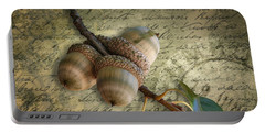 Portable Battery Charger featuring the mixed media Autumn Acorns On Vintage Postcard Digital Art by Debi Dalio