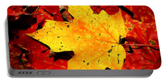 Autumn Beige Yellow Leaf On Red Leaves Portable Battery Charger