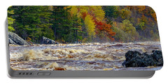 Autumn Colors And Rushing Rapids   Portable Battery Charger
