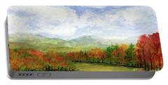Autumn Day Watercolor Vermont Landscape Portable Battery Charger