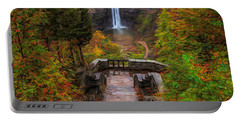 Portable Battery Charger featuring the painting Autumn Morning At Taughannock Falls by Dan Sproul