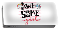 Awesome Girl - Baby Room Nursery Art Poster Print Portable Battery Charger