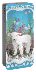 Baby Lamb With White Butterflies Portable Battery Charger