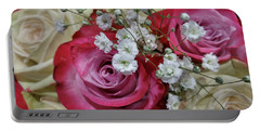 Portable Battery Charger featuring the photograph Baby's Breath And Roses by Liza Eckardt