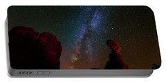 Balanced Rock Below The Milky Way Portable Battery Charger