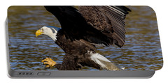 Portable Battery Charger featuring the photograph Bald Eagle Fishing On The James River by Lori Coleman