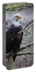 Bald Eagle In Rain Forest Portable Battery Charger