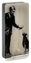 Banksy Paris Man With Bone And Dog Portable Battery Charger