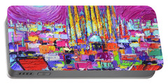 Barcelona Mystic Full Moon Over Sagrada Familia Abstract Cityscape Knife Painting Ana Maria Edulescu Portable Battery Charger