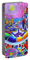 Barcelona Park Guell Colorful Night Textural Impasto Knife Oil Painting Abstract Ana Maria Edulescu Portable Battery Charger