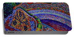Barcelona Park Guell Sunrise Modern Impressionist Impasto Knife Oil Painting Ana Maria Edulescu Portable Battery Charger