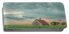 Barn In Sunset Portable Battery Charger