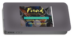 Portable Battery Charger featuring the digital art Basic Label Design For Found by Mario MJ Perron