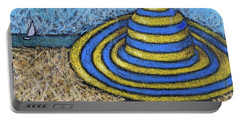 Beach Hat Blue And Yellow Portable Battery Charger