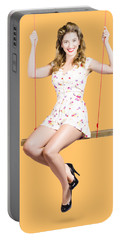 Beautiful Fifties Pin Up Girl Smiling On Swing Portable Battery Charger