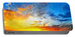 Beautiful Sunset In Landscape In Nature With Warm Sky, Digital A Portable Battery Charger