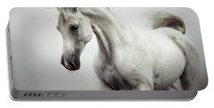 Portable Battery Charger featuring the photograph Beautiful White Horse On The White Background by Dimitar Hristov