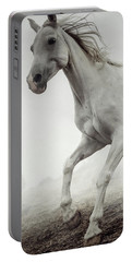 Portable Battery Charger featuring the photograph Beautiful White Horse Running In Mist by Dimitar Hristov