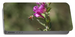 Bee Flying Towards Ultra Violet Texas Ranger Flower Portable Battery Charger