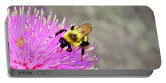 Bee On Pink Bull Thistle Portable Battery Charger