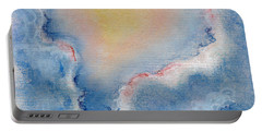 Between Clouds. Abstract Landscape Background Drawing By Pastel Portable Battery Charger
