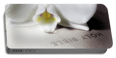 Bible With White Orchid Portable Battery Charger