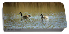 Bidston.  Bidston Moss Wildlife Reserve. Two Geese. Portable Battery Charger