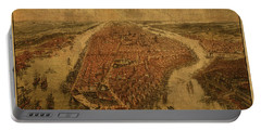 Birds Eye View Map Of Manhattan New York 1865  Portable Battery Charger