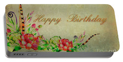 Portable Battery Charger featuring the digital art Birthday Greetings by Edmund Nagele