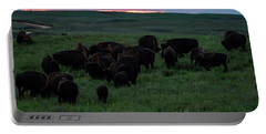 Bison At Sunset Portable Battery Charger