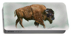 Bison In Snow Storm Portable Battery Charger