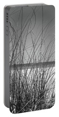 Black And White Beach View Portable Battery Charger