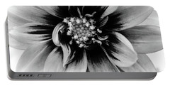 Black And White Dahlia Portable Battery Charger