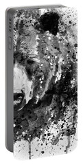 Black And White Half Faced Grizzly Bear Portable Battery Charger