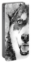 Black And White Half Faced Husky Dog Portable Battery Charger