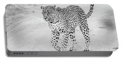 Black And White Leopard Walking On A Road Portable Battery Charger