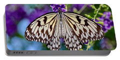 Black And White Paper Kite Butterfly Portable Battery Charger