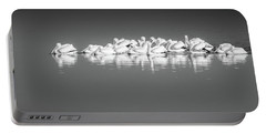 Portable Battery Charger featuring the photograph Black And White Pelican Reflections by Dan Sproul